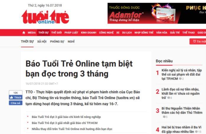 Trang web VN có lượng truy cập lớn bị xử phạt